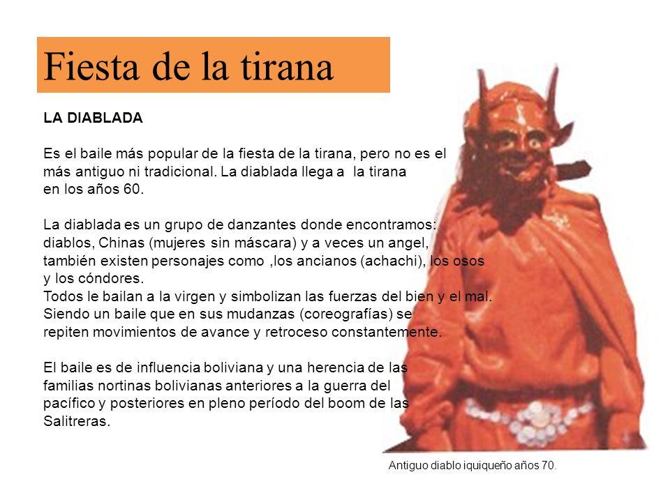 Diablada danzando en la tirana.Ángel Miguel,figurín (personaje) de la diablada.