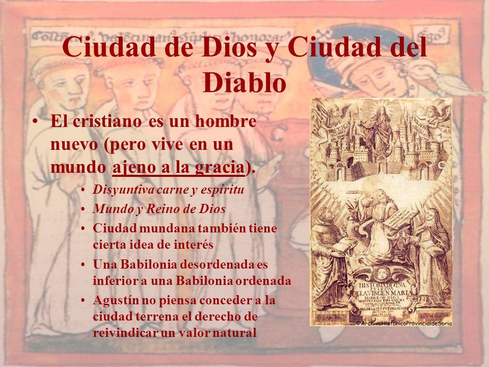 Ciudad de Dios y Ciudad del Diablo El cristiano es un hombre nuevo (pero vive en un mundo ajeno a la gracia). Disyuntiva carne y espíritu Mundo y Rein