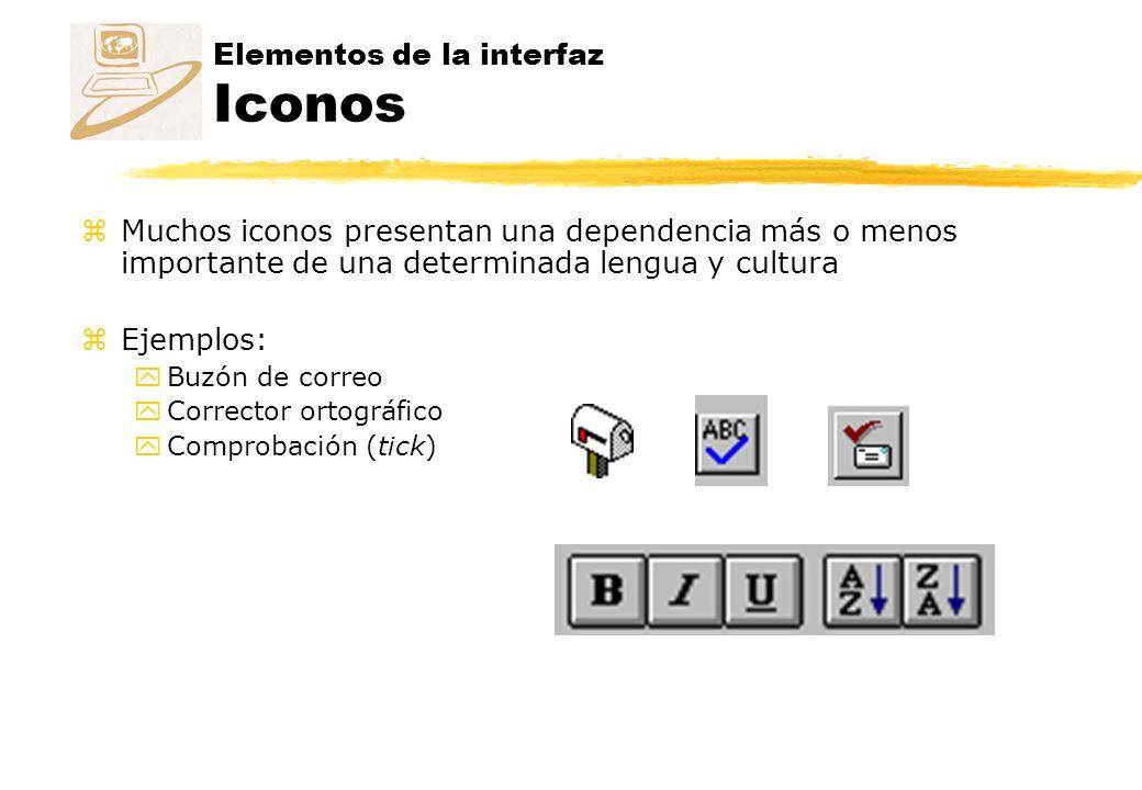 Elementos de la interfaz Iconos zMuchos iconos presentan una dependencia más o menos importante de una determinada lengua y cultura zEjemplos: yBuzón de correo yCorrector ortográfico yComprobación (tick)