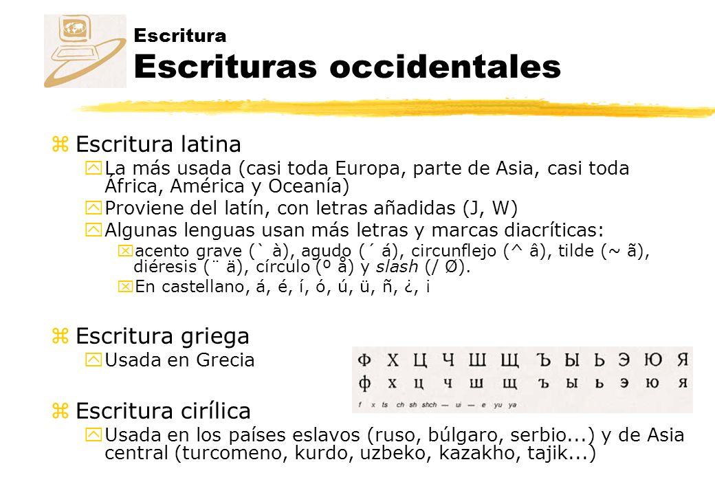 Escritura Escrituras occidentales zEscritura latina yLa más usada (casi toda Europa, parte de Asia, casi toda África, América y Oceanía) yProviene del latín, con letras añadidas (J, W) yAlgunas lenguas usan más letras y marcas diacríticas: xacento grave (` à), agudo (´ á), circunflejo (^ â), tilde (~ ã), diéresis (¨ ä), círculo (º å) y slash (/ Ø).