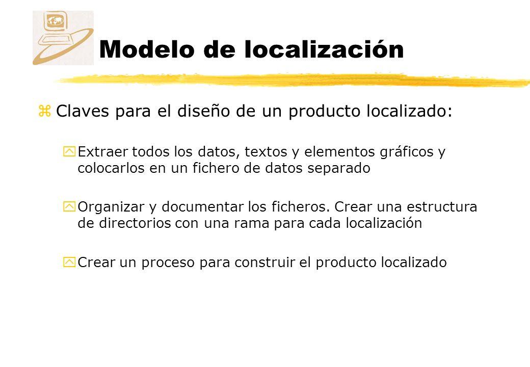 Modelo de localización zClaves para el diseño de un producto localizado: yExtraer todos los datos, textos y elementos gráficos y colocarlos en un fichero de datos separado yOrganizar y documentar los ficheros.