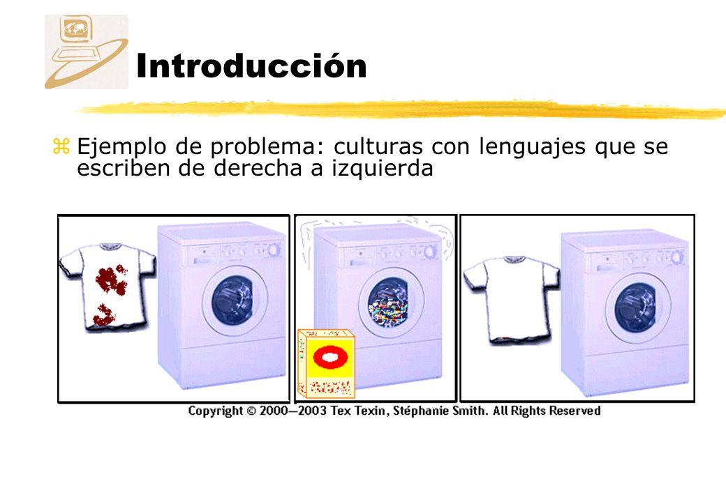 Introducción zEjemplo de problema: culturas con lenguajes que se escriben de derecha a izquierda