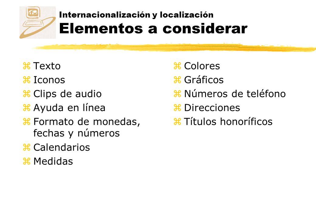 Internacionalización y localización Elementos a considerar zTexto zIconos zClips de audio zAyuda en línea zFormato de monedas, fechas y números zCalendarios zMedidas zColores zGráficos zNúmeros de teléfono zDirecciones zTítulos honoríficos