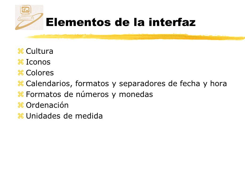 Elementos de la interfaz zCultura zIconos zColores zCalendarios, formatos y separadores de fecha y hora zFormatos de números y monedas zOrdenación zUnidades de medida
