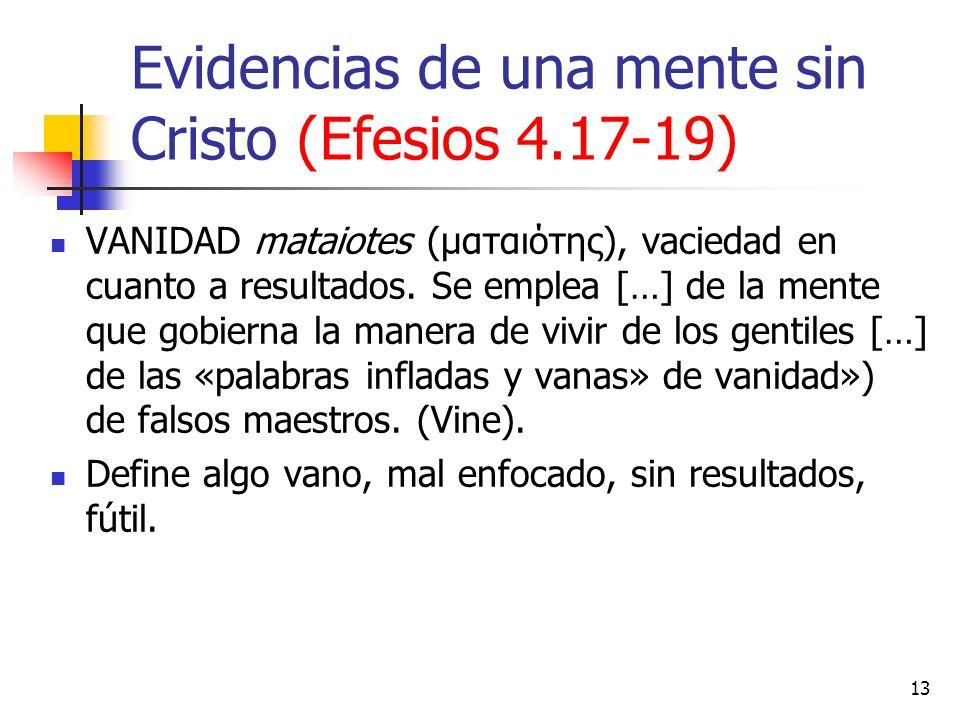 Evidencias de una mente sin Cristo (Efesios 4.17-19) VANIDAD mataiotes (ματαιότης), vaciedad en cuanto a resultados. Se emplea […] de la mente que gob