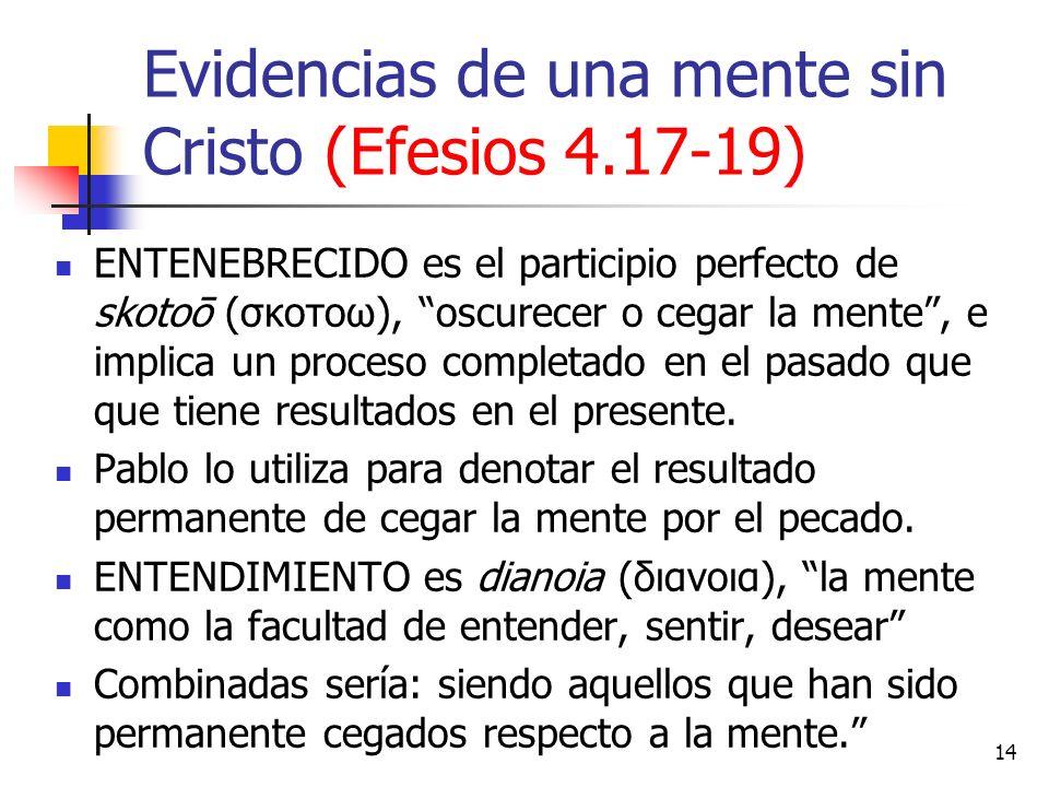 Evidencias de una mente sin Cristo (Efesios 4.17-19) ENTENEBRECIDO es el participio perfecto de skotoō (σκοτοω), oscurecer o cegar la mente, e implica