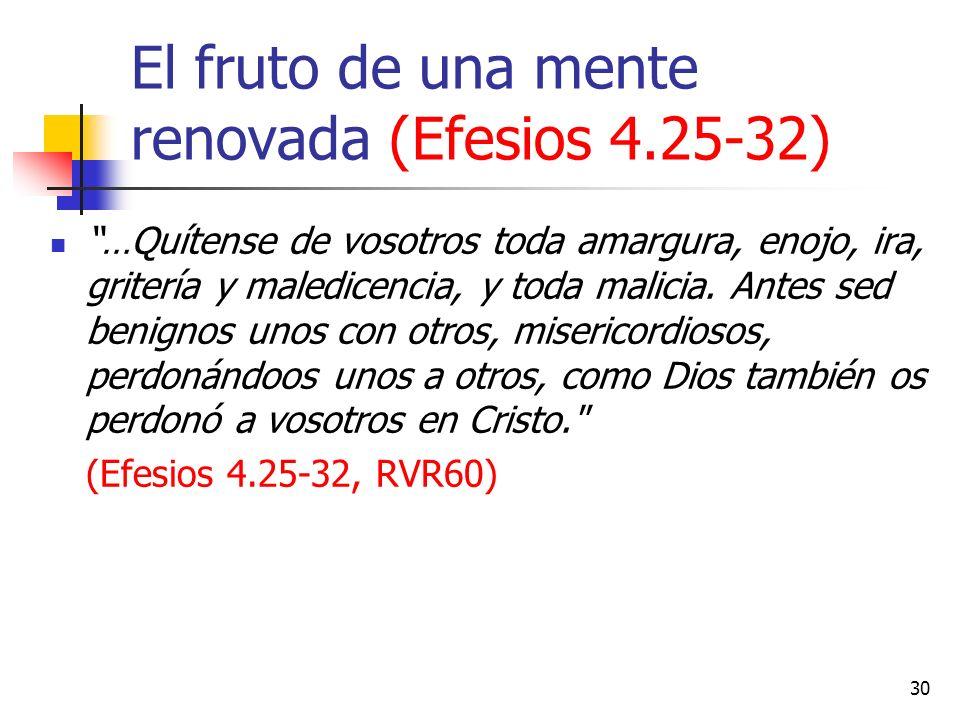 El fruto de una mente renovada (Efesios 4.25-32) …Quítense de vosotros toda amargura, enojo, ira, gritería y maledicencia, y toda malicia. Antes sed b