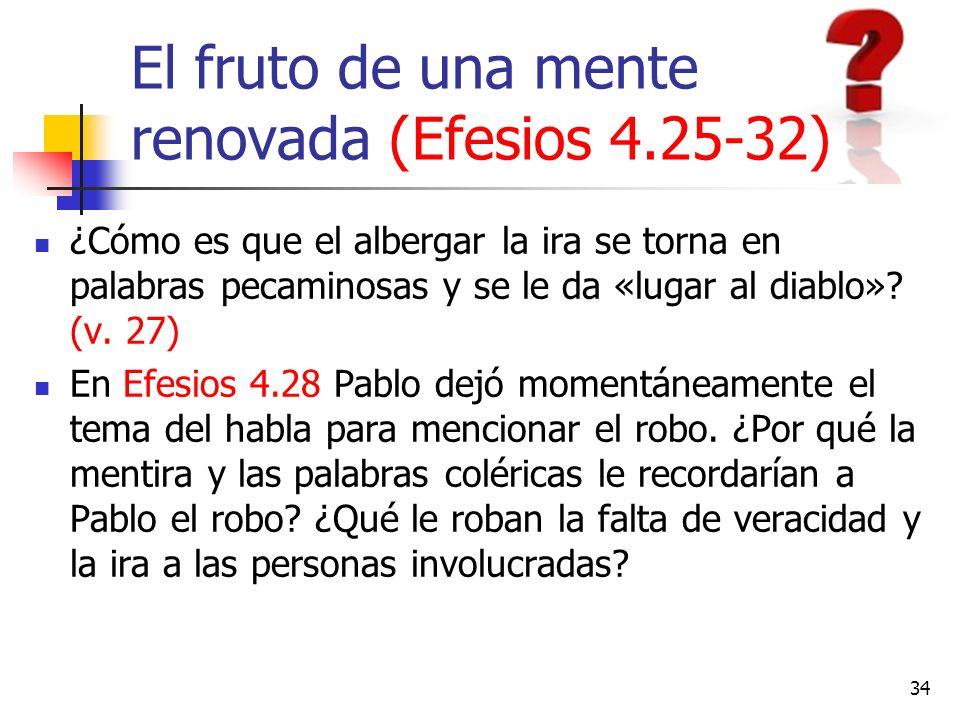 El fruto de una mente renovada (Efesios 4.25-32) ¿Cómo es que el albergar la ira se torna en palabras pecaminosas y se le da «lugar al diablo»? (v. 27