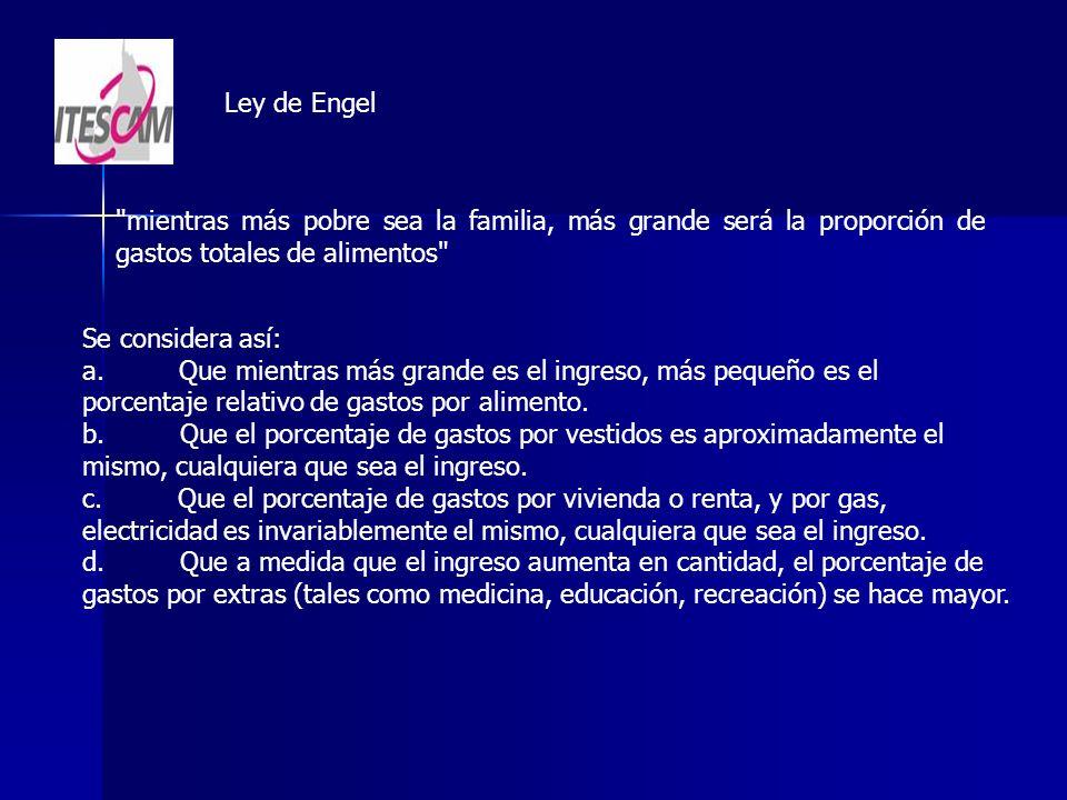Ley de Engel mientras más pobre sea la familia, más grande será la proporción de gastos totales de alimentos Se considera así: a.