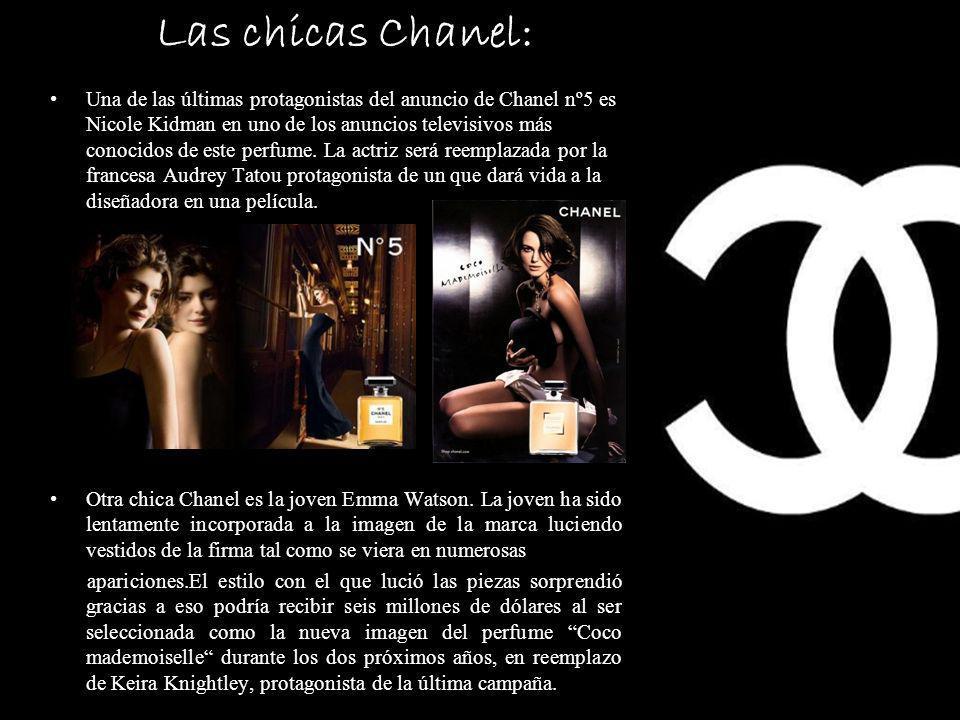 Las chicas Chanel: Una de las últimas protagonistas del anuncio de Chanel nº5 es Nicole Kidman en uno de los anuncios televisivos más conocidos de este perfume.