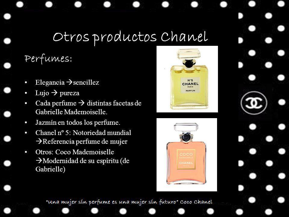 Otros productos Chanel Perfumes: Elegancia sencillez Lujo pureza Cada perfume distintas facetas de Gabrielle Mademoiselle.
