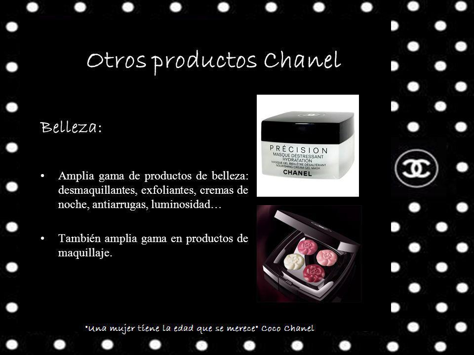 Otros productos Chanel Belleza: Amplia gama de productos de belleza: desmaquillantes, exfoliantes, cremas de noche, antiarrugas, luminosidad… También amplia gama en productos de maquillaje.