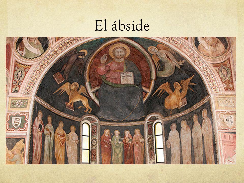 En la parte absidàl la iconografìa de la maiestas domini esté entre los sìmbolos de los evangelistas.