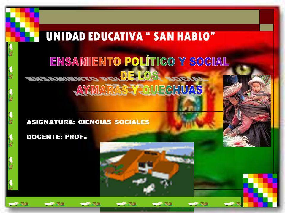 UNIDAD EDUCATIVA SAN HABLO ASIGNATURA: CIENCIAS SOCIALES DOCENTE: PROF.