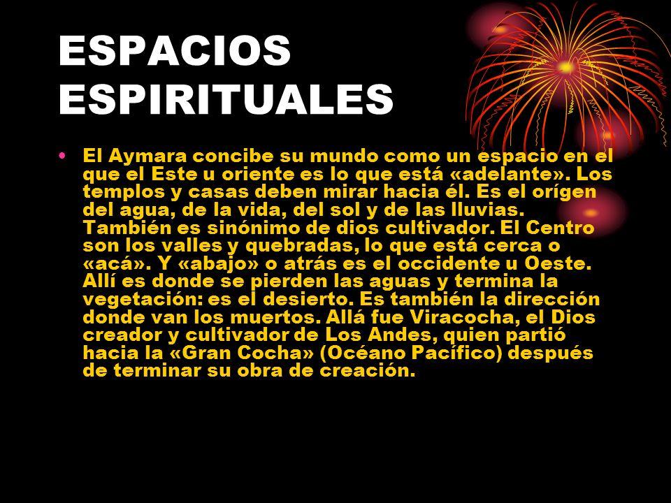 El Aymara concibe su mundo como un espacio en el que el Este u oriente es lo que está «adelante». Los templos y casas deben mirar hacia él. Es el oríg