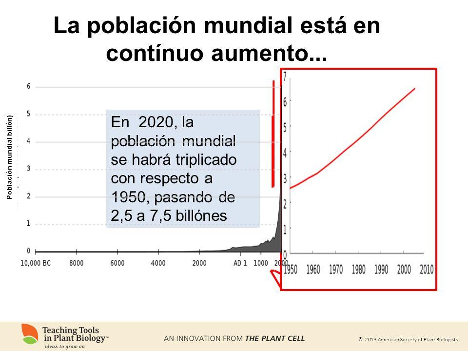 © 2013 American Society of Plant Biologists La población mundial está en contínuo aumento... En 2020, la población mundial se habrá triplicado con res