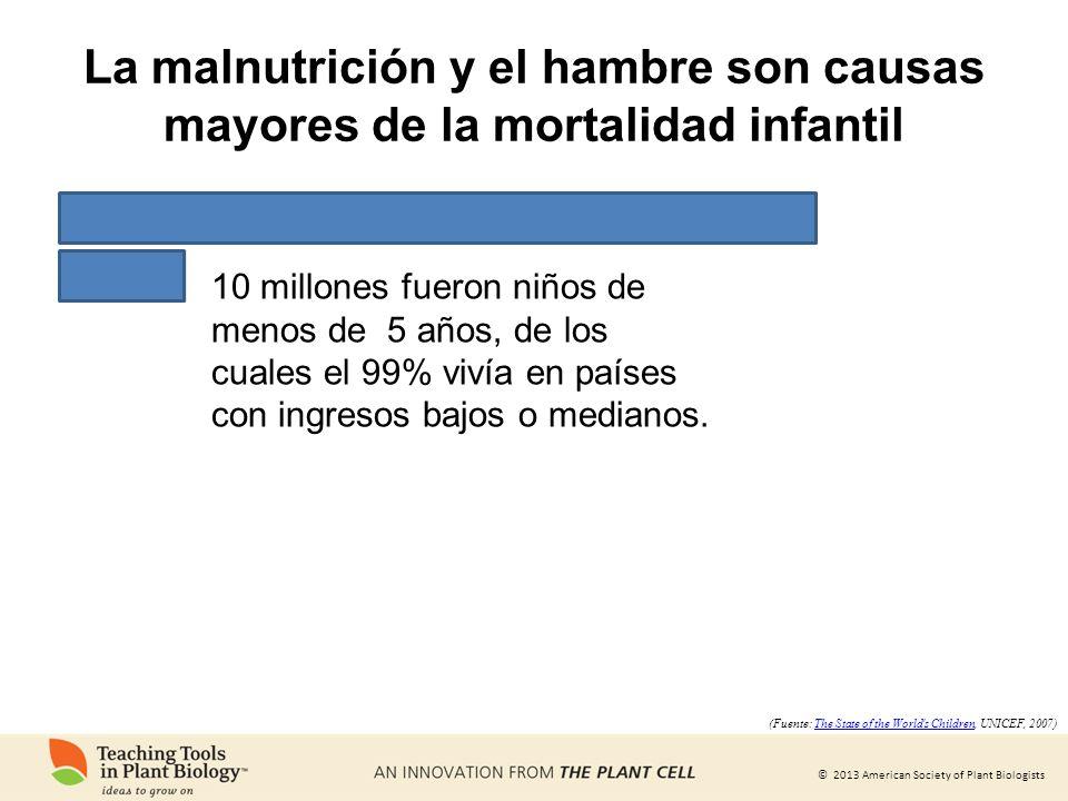 © 2013 American Society of Plant Biologists 10 millones fueron niños de menos de 5 años, de los cuales el 99% vivía en países con ingresos bajos o med