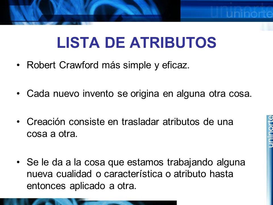 LISTA DE ATRIBUTOS Robert Crawford más simple y eficaz.