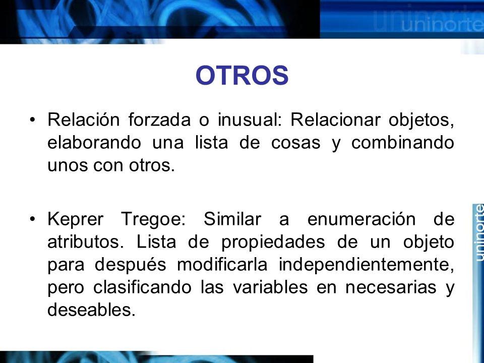 OTROS Relación forzada o inusual: Relacionar objetos, elaborando una lista de cosas y combinando unos con otros.
