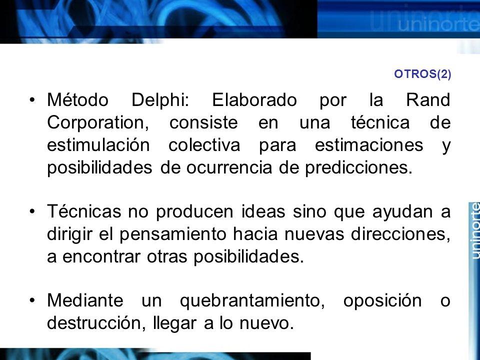 OTROS(2) Método Delphi: Elaborado por la Rand Corporation, consiste en una técnica de estimulación colectiva para estimaciones y posibilidades de ocurrencia de predicciones.
