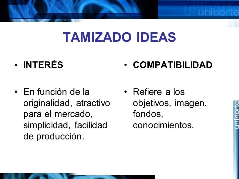 TAMIZADO IDEAS INTERÉS En función de la originalidad, atractivo para el mercado, simplicidad, facilidad de producción.