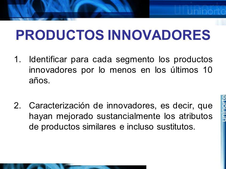 PRODUCTOS INNOVADORES 1.Identificar para cada segmento los productos innovadores por lo menos en los últimos 10 años.