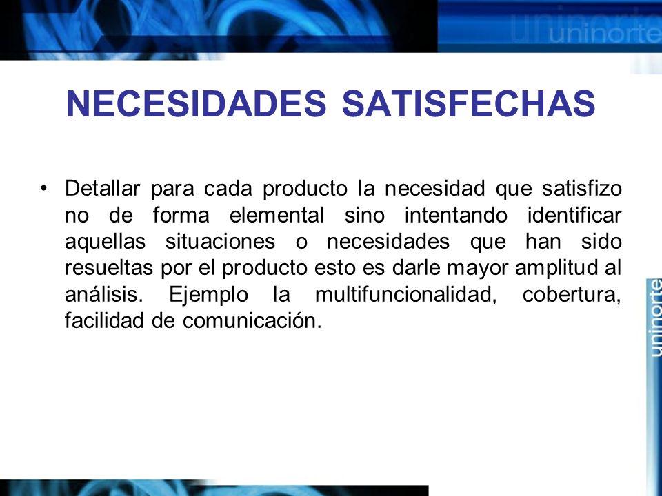 NECESIDADES SATISFECHAS Detallar para cada producto la necesidad que satisfizo no de forma elemental sino intentando identificar aquellas situaciones o necesidades que han sido resueltas por el producto esto es darle mayor amplitud al análisis.