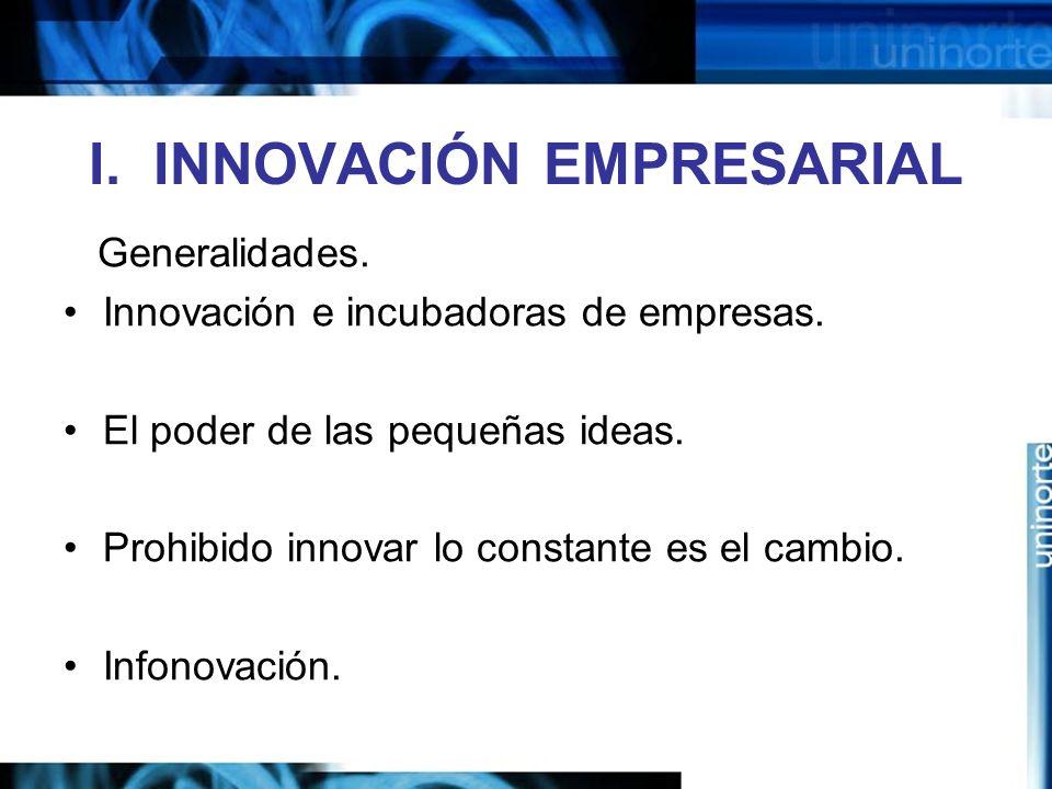 I.INNOVACIÓN EMPRESARIAL Generalidades. Innovación e incubadoras de empresas.