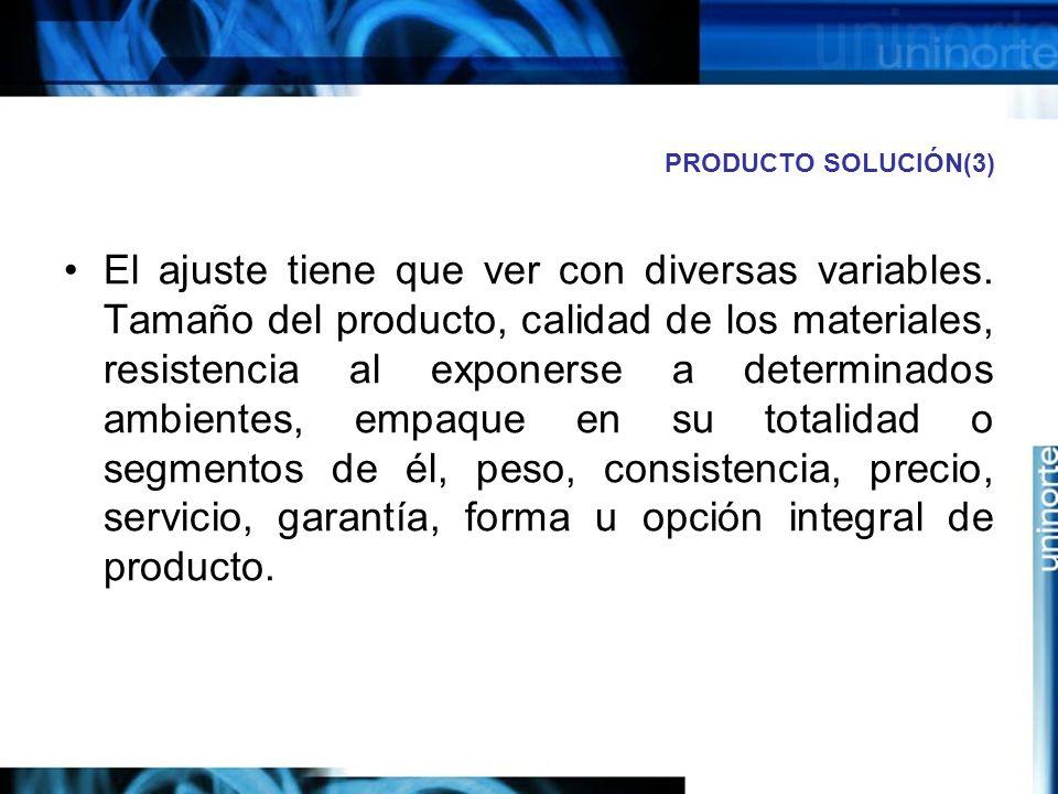 PRODUCTO SOLUCIÓN(3) El ajuste tiene que ver con diversas variables.