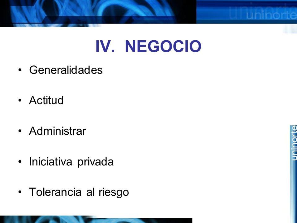 IV. NEGOCIO Generalidades Actitud Administrar Iniciativa privada Tolerancia al riesgo