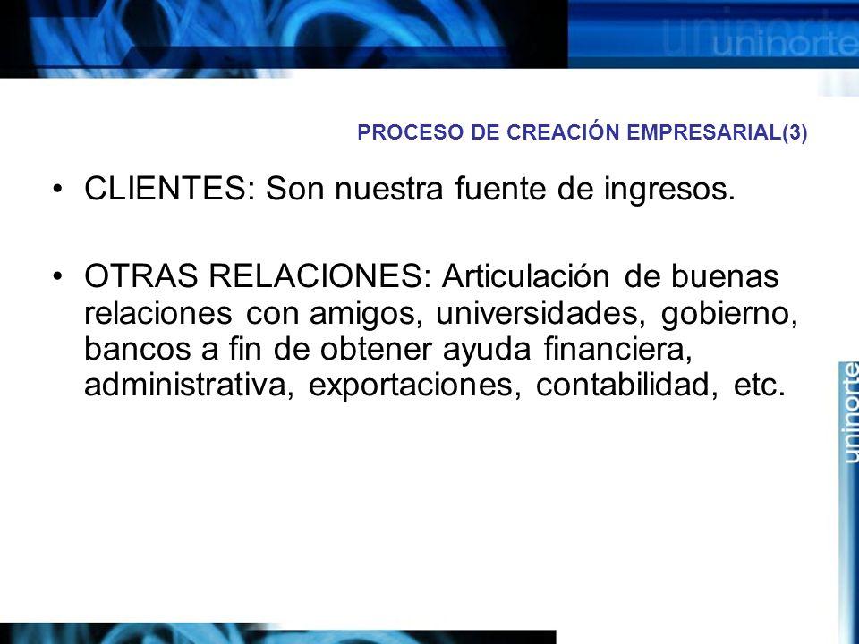 PROCESO DE CREACIÓN EMPRESARIAL(3) CLIENTES: Son nuestra fuente de ingresos.
