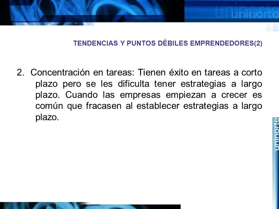 TENDENCIAS Y PUNTOS DÉBILES EMPRENDEDORES(2) 2.