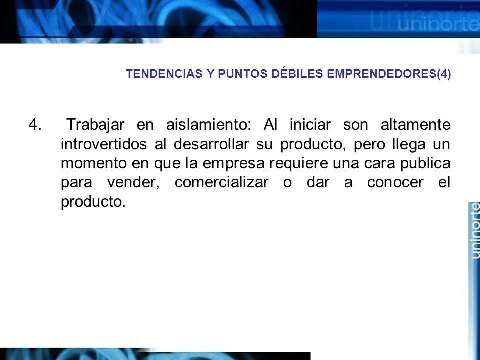 TENDENCIAS Y PUNTOS DÉBILES EMPRENDEDORES(4) 4.
