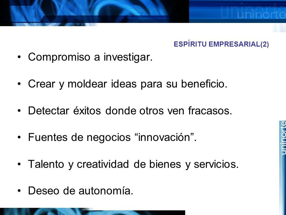 ESPÍRITU EMPRESARIAL(2) Compromiso a investigar.Crear y moldear ideas para su beneficio.
