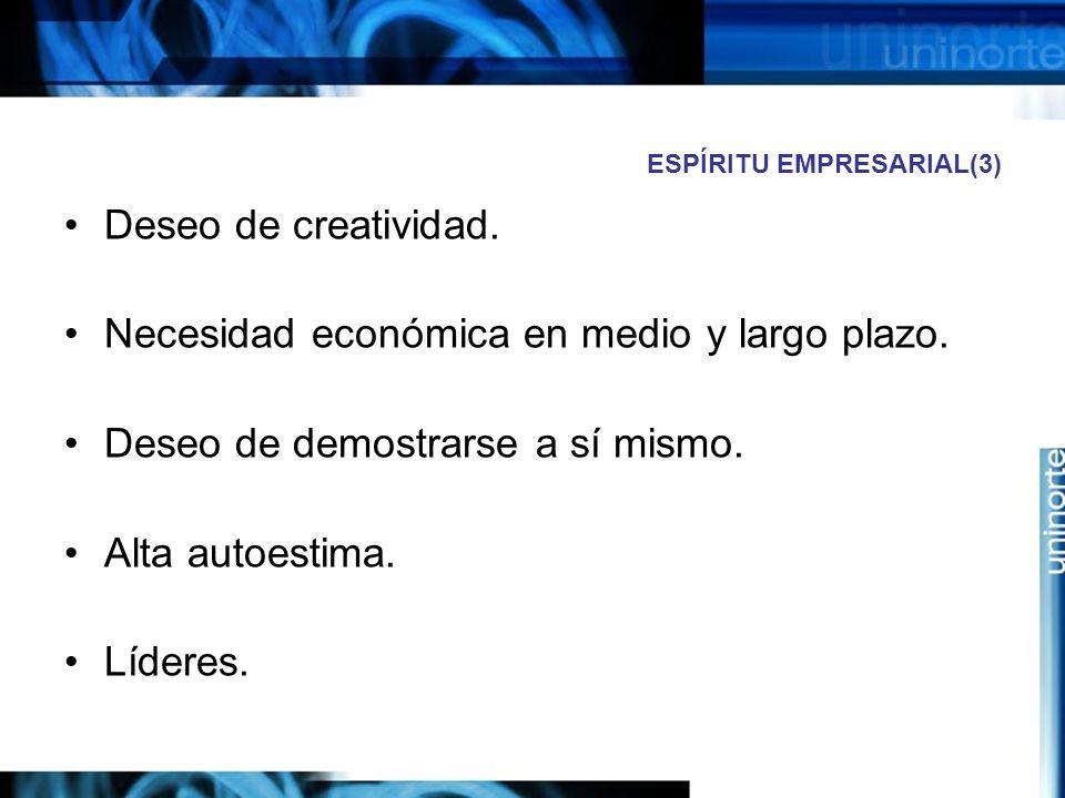 ESPÍRITU EMPRESARIAL(3) Deseo de creatividad.Necesidad económica en medio y largo plazo.