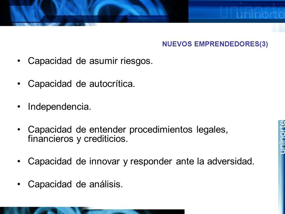 NUEVOS EMPRENDEDORES(3) Capacidad de asumir riesgos.