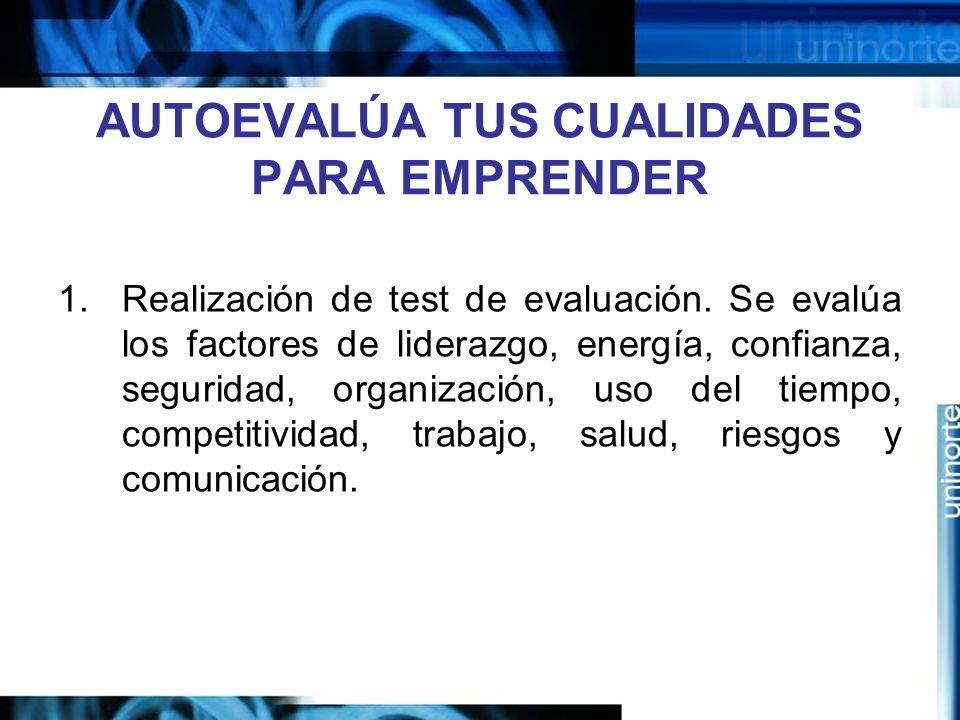 AUTOEVALÚA TUS CUALIDADES PARA EMPRENDER 1.Realización de test de evaluación.