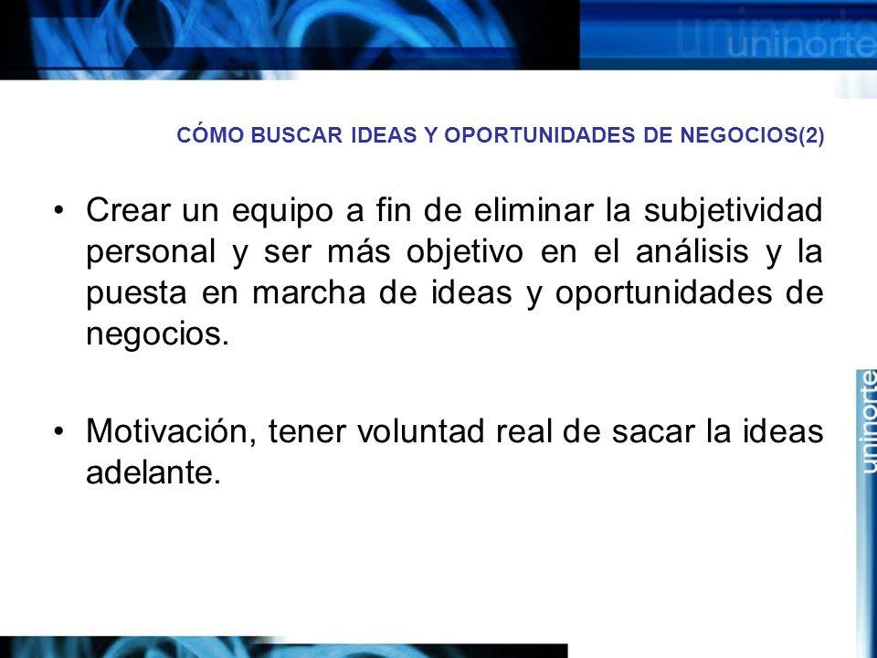 CÓMO BUSCAR IDEAS Y OPORTUNIDADES DE NEGOCIOS(2) Crear un equipo a fin de eliminar la subjetividad personal y ser más objetivo en el análisis y la puesta en marcha de ideas y oportunidades de negocios.
