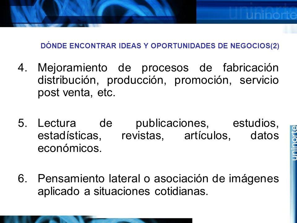 DÓNDE ENCONTRAR IDEAS Y OPORTUNIDADES DE NEGOCIOS(2) 4.Mejoramiento de procesos de fabricación distribución, producción, promoción, servicio post venta, etc.