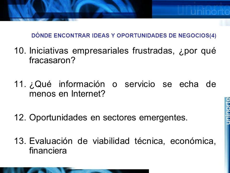 DÓNDE ENCONTRAR IDEAS Y OPORTUNIDADES DE NEGOCIOS(4) 10.Iniciativas empresariales frustradas, ¿por qué fracasaron.