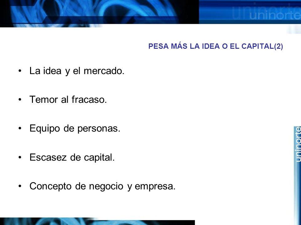 PESA MÁS LA IDEA O EL CAPITAL(2) La idea y el mercado.