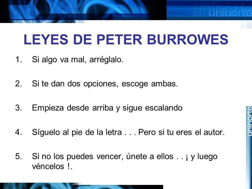 LEYES DE PETER BURROWES 1.Si algo va mal, arréglalo.