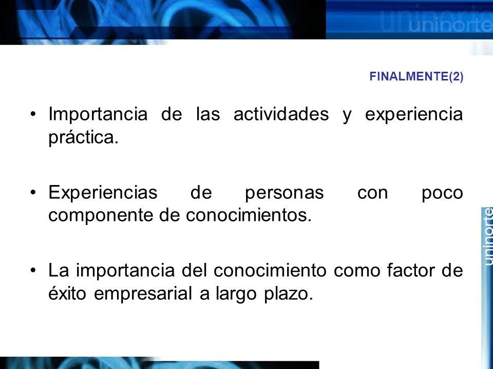 FINALMENTE(2) Importancia de las actividades y experiencia práctica.