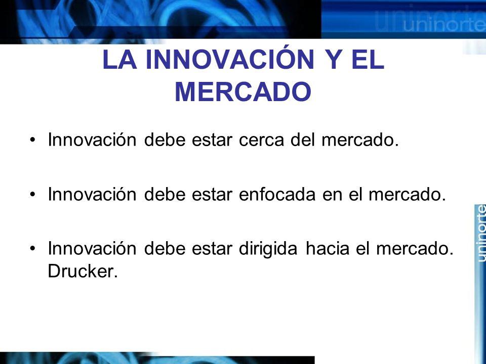 LA INNOVACIÓN Y EL MERCADO Innovación debe estar cerca del mercado.