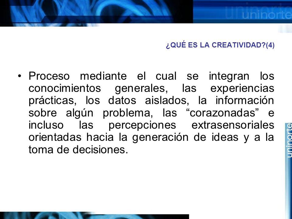 ¿QUÉ ES LA CREATIVIDAD?(4) Proceso mediante el cual se integran los conocimientos generales, las experiencias prácticas, los datos aislados, la información sobre algún problema, las corazonadas e incluso las percepciones extrasensoriales orientadas hacia la generación de ideas y a la toma de decisiones.