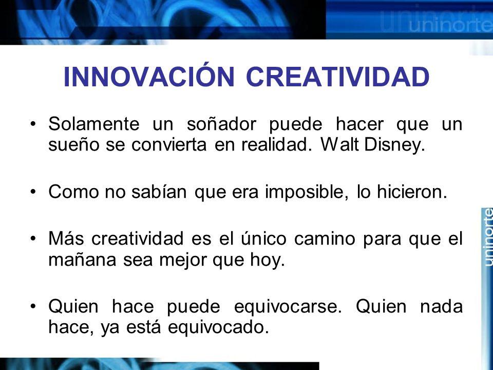 INNOVACIÓN CREATIVIDAD Solamente un soñador puede hacer que un sueño se convierta en realidad.