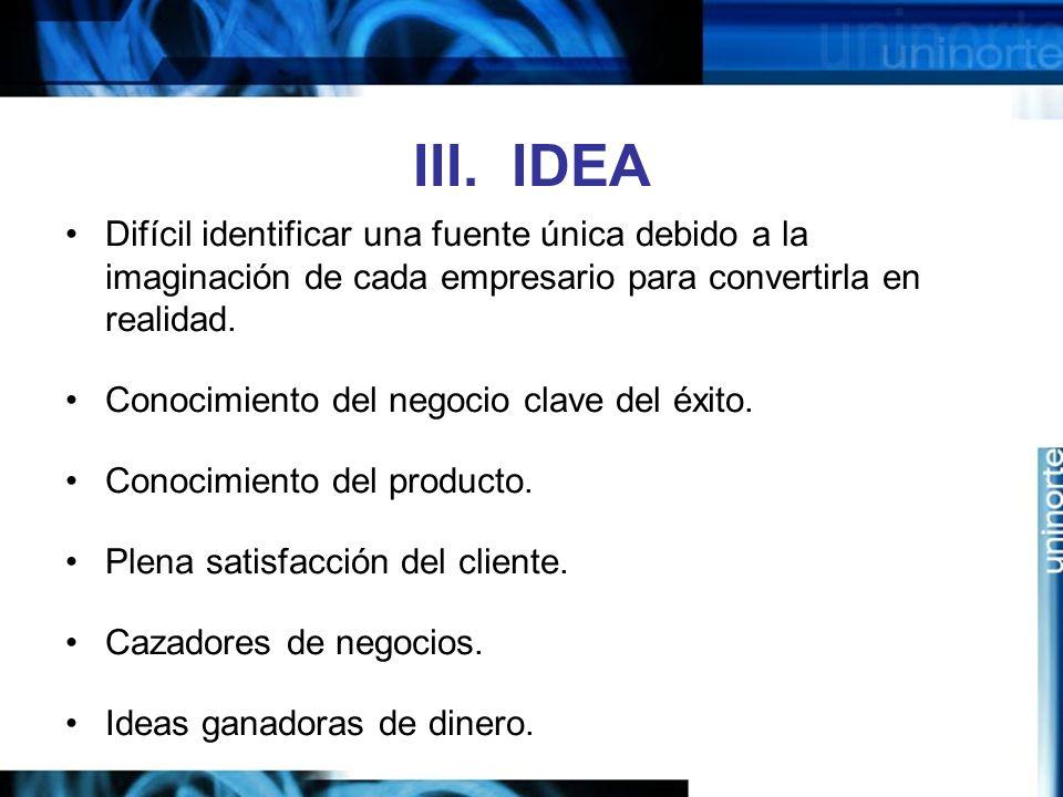 III. IDEA Difícil identificar una fuente única debido a la imaginación de cada empresario para convertirla en realidad. Conocimiento del negocio clave