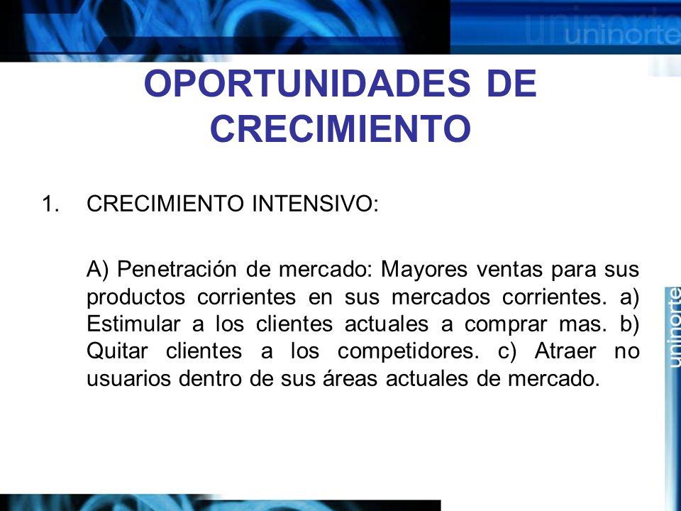 OPORTUNIDADES DE CRECIMIENTO 1.CRECIMIENTO INTENSIVO: A) Penetración de mercado: Mayores ventas para sus productos corrientes en sus mercados corrientes.