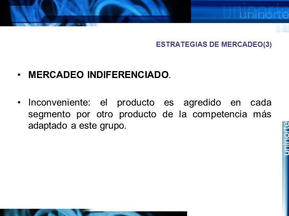 ESTRATEGIAS DE MERCADEO(3) MERCADEO INDIFERENCIADO.