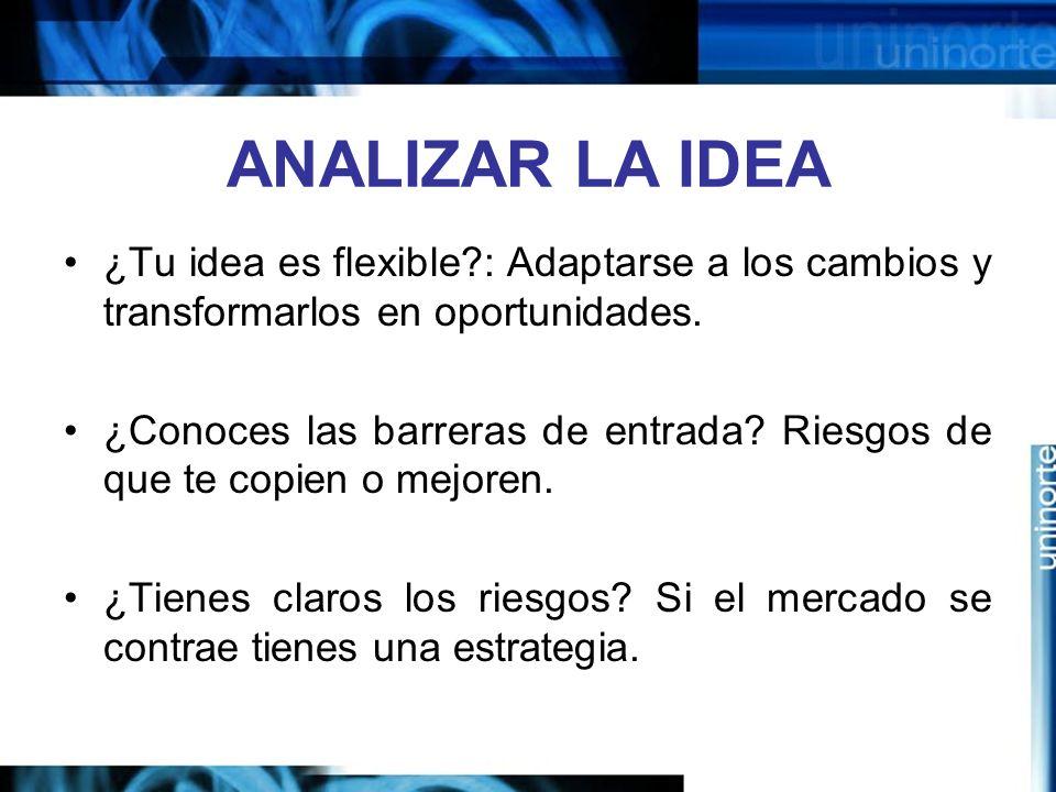 ANALIZAR LA IDEA ¿Tu idea es flexible?: Adaptarse a los cambios y transformarlos en oportunidades.